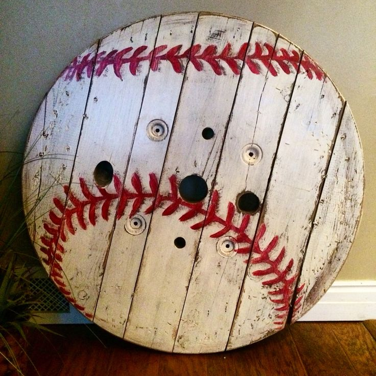 "Baseball wall piece. Can be hung or leaned on shelf. Made from wire spool end. This one is 36"". Huge!"