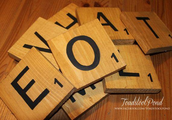 Handpainted 6 Wood Scrabble Pieces Letter Blocks