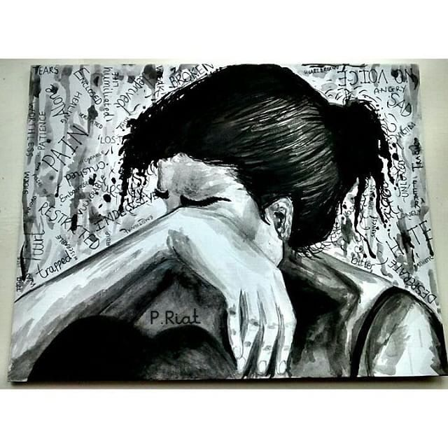 the artist canvas  very expressive emotion filled and powerful artwork by @kreativekaur  Amazing.