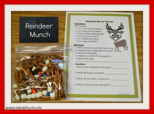 Olive the Other Reindeer to the Rescue: Students can read and follow directions to make Reindeer Munch while practicing key measurement skills.