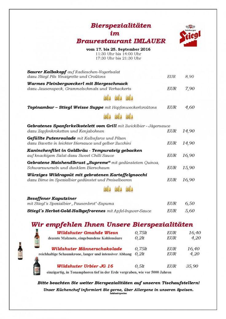 Speisekarte zu den Bierspezialitäten im Braurestaurant