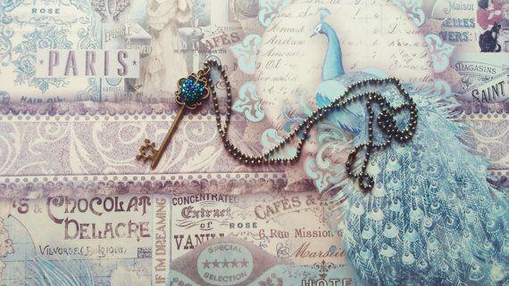 Bronze Key Heart Pendant Ballchain Necklace by CinnamonJane