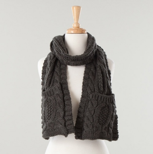 Gray Cable Knit Pocket Scarf.