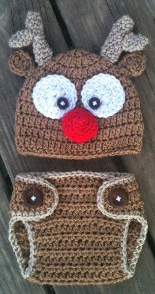 Baby Toddler Crochet REINDEER Brown RED Nose Beanie by shayahjane, $32.00