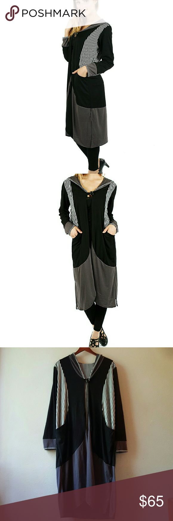 """Lightweight Long Hooded Soft Modern Duster Very unique designer piece in neutral tones, Hooded Duster with an open placket, top button fastener, nice pockets and sexy side slots. What a great topper to an outfit! 41"""" approx length. Aster Jackets & Coats"""