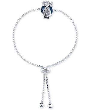 Unwritten Silver-Plated Montana Blue Stone and Crystal Owl Slider Bracelet - Silver