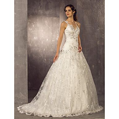 [XmasSale]Wedding Dress A Line Sweep Brush Train Lace One Shoulder With Crystal Detailing and Appliques – GBP £ 137.99