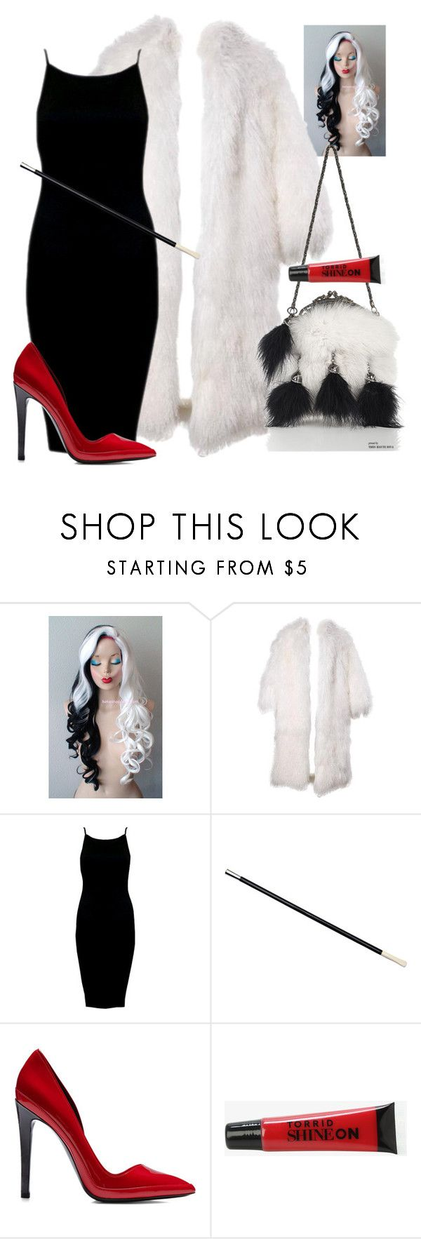 """Halloween Costume: Cruella De Vil"" by secretsoftheslytherin ❤ liked on Polyvore featuring Marchesa, Anthony Vaccarello and Torrid"