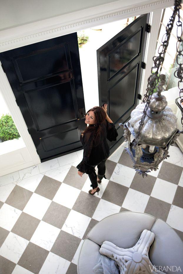 Glossy black doors and marble checkerboard tile - Windsor Smith Home Entertaining - Designer Windsor Smith Dinner Party - Veranda.com
