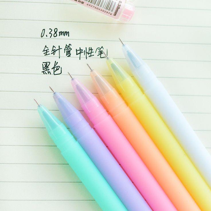 6 unids/lote jalea gel ink pen Crystal amor 0.38 mm negro lapices bolígrafos Canetas accesorios para oficina 6843