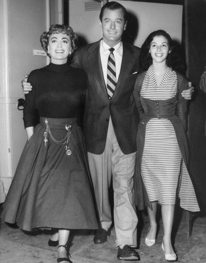 1953 Joan Crawford On the set of 'Torch Song' with Gig Young and Pier Angeli. Joan's wearing Joseff Hollywood Jewelry