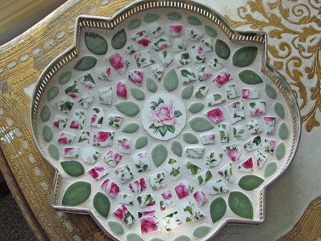 Rose-Mosaic-Tray by teacup mosaics, via Flickr