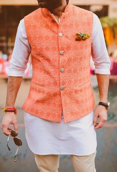 orange waist coat, peach waist coat, peach nehru jacket, mehendi outfit, short kurta, pants