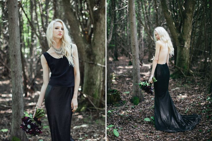 bridal separates- black wedding dress.