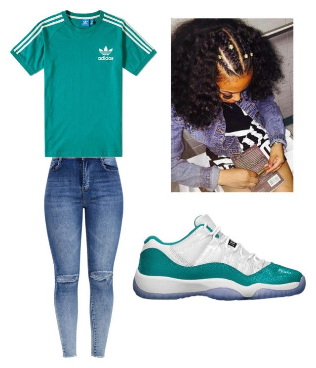 """""""Tealous"""" by sauceylaura on Polyvore featuring Retrò and adidas"""