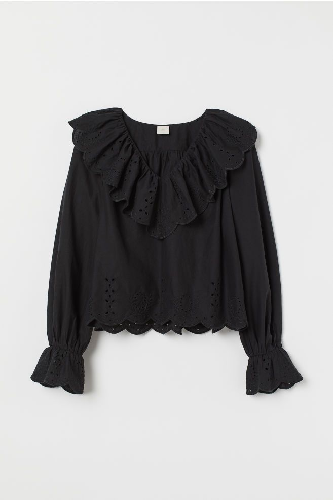 f5d5c3a88 Blouse with broderie anglaise in 2019 | TOP | Blouse, Ruffle blouse ...