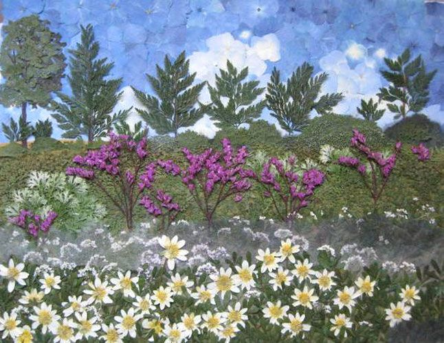 landscape pictures created using pressed flowers, pressed leave and pressed botanicals as paint to painters.