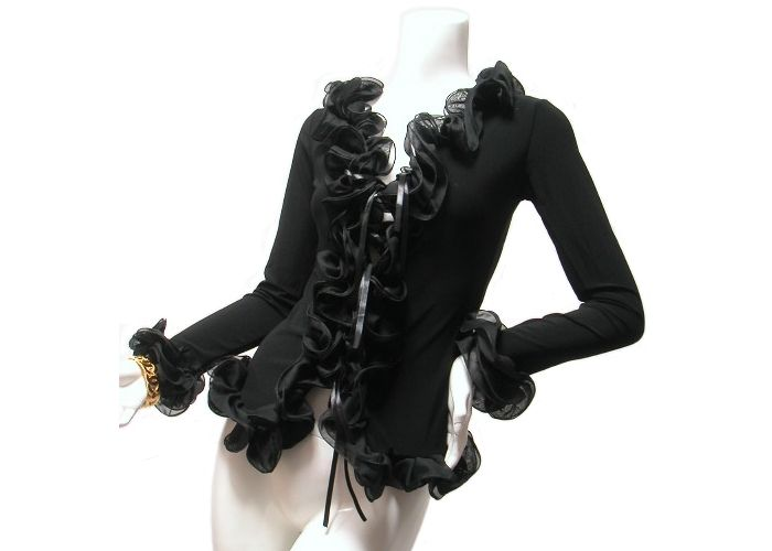 【楽天市場】カーディガンボレロチュールレースフリルドレスパーティードレスロングドレスの上着として!ふりふりフリル!ブラック黒:Seduce セデュース