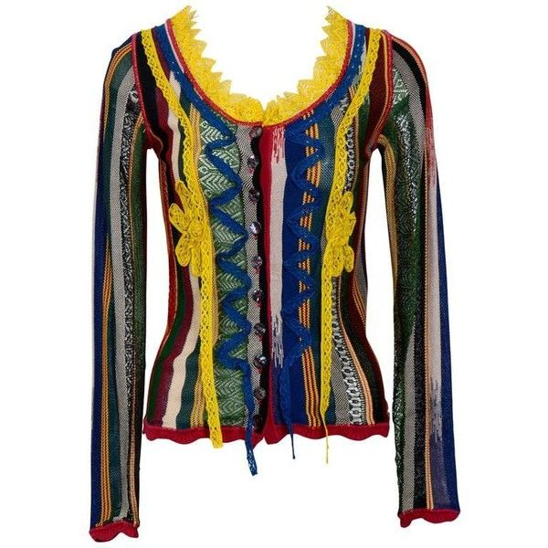 Preowned Vintage 90's Jean Paul Gaultier Multi Colour Cardigan ($450) ❤ liked on Polyvore featuring tops, cardigans, black, multi color tops, vintage tops, short-sleeve cardigan, jean paul gaultier top and multicolor cardigan