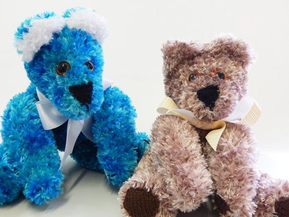 BROWN CUDDLE BEAR Sitting hand knitted bear by MadeWithAltitude