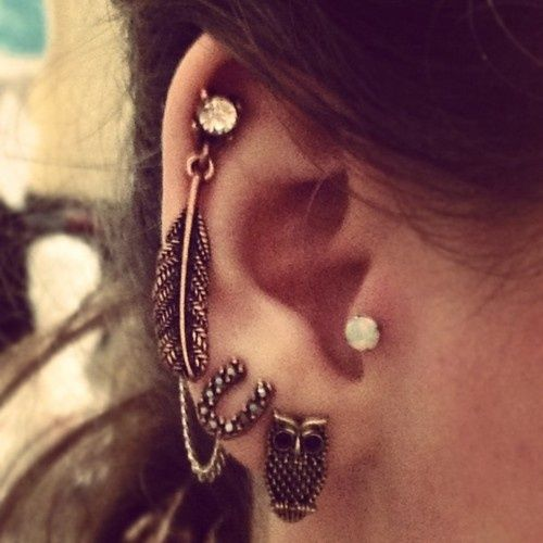 Feather and owl earings