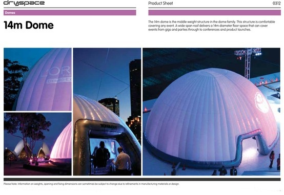 14m#TECHNICAL SPECS #Dome  #Inflatable #Temporary #Structure #Events http://www.brandinteractivation.com/