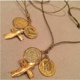 Charms: Cross, Greek Drachmas and Cretan Phaistos DiscNecklace has a 36 inches diameter. All charms are gold plated.