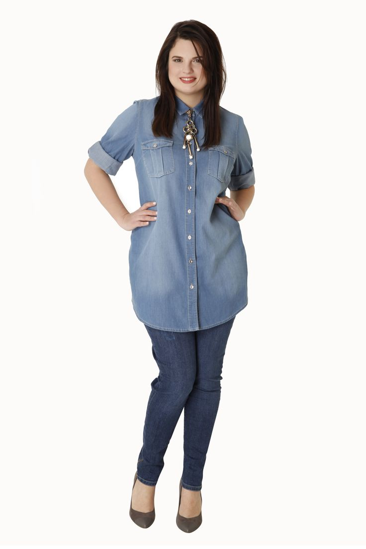 Denim cotton longline shirt by Parabita
