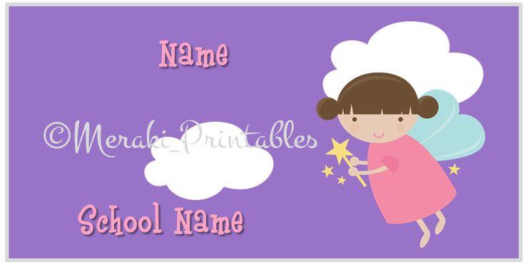Fairy Back to school name labels stickers Instant Download Printable  / Etiquetas escolares para regreso a clases Hadas de MerakiPrintables en Etsy