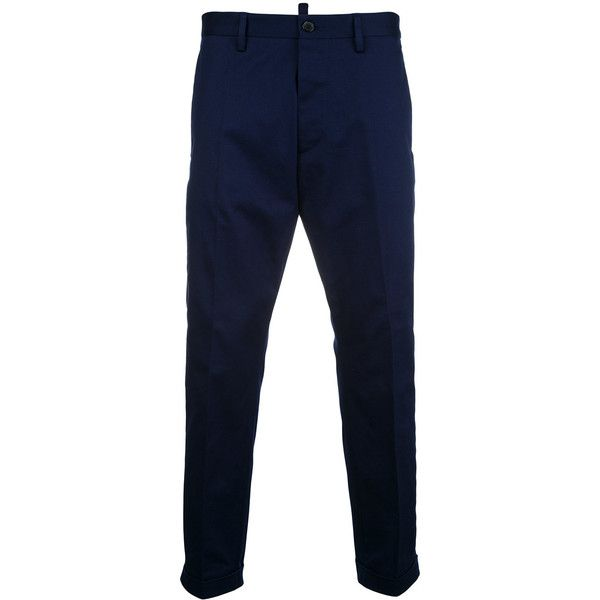 Dsquared2 cropped chinos ($555) ❤ liked on Polyvore featuring men's fashion, men's clothing, men's pants, men's casual pants, blue, mens chino pants, mens blue chino pants, mens cuffed pants, mens cropped pants and mens zipper pants