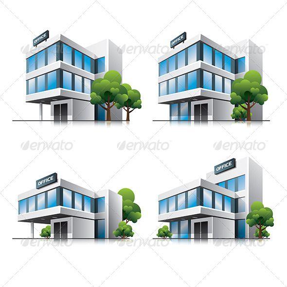 Office Buildings Cartoon Icons House Illustration Cartoon Icons Building Icon