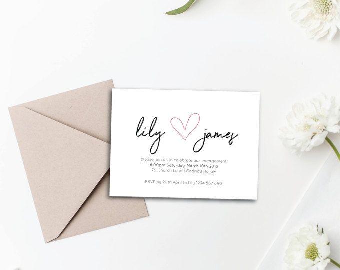 Engagement Invitation - Pink Foil Heart A6 Printable Engagement Announcement Card