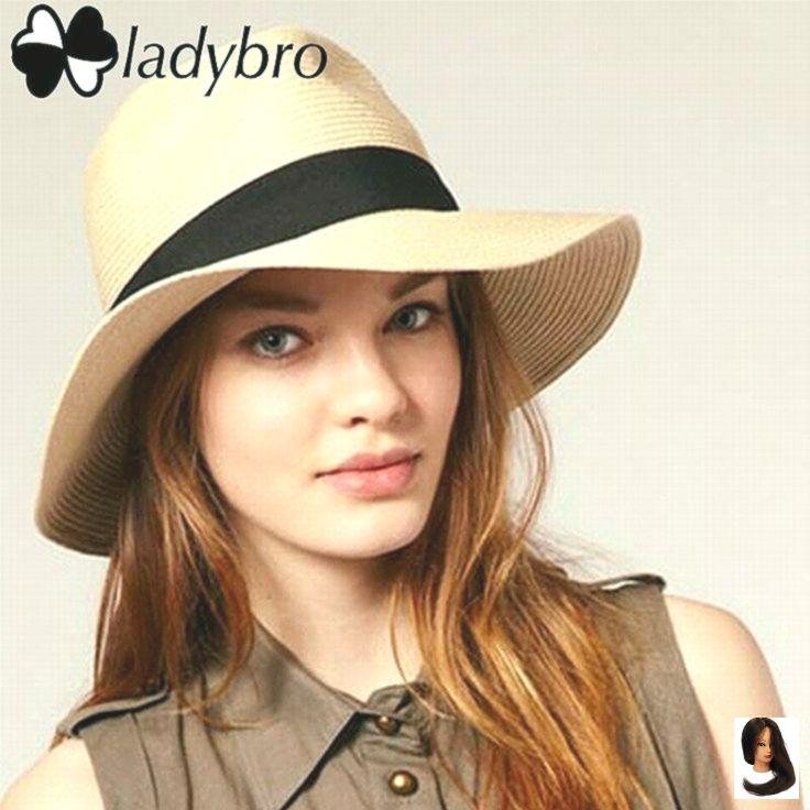 Ladybro Sommer Frauen Hut breiter Krempe Strand Sonnenhut Panama Strohhut Männer Fedora