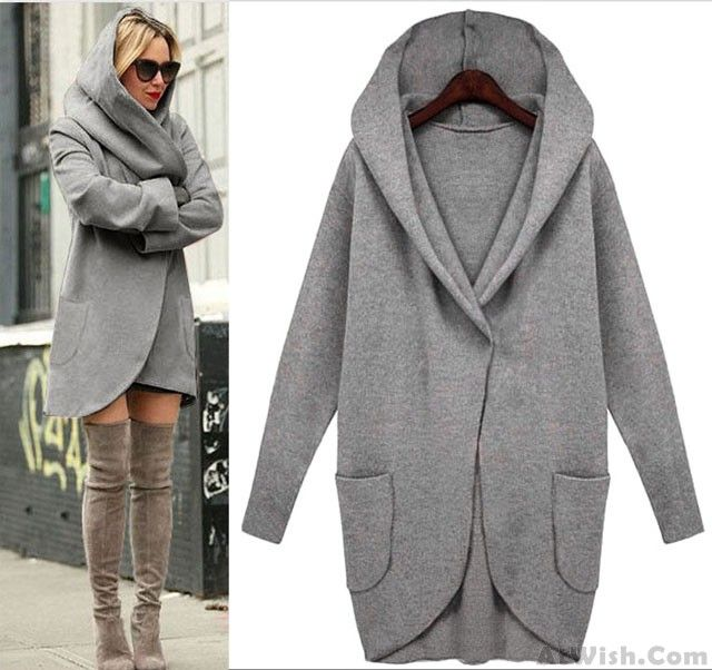 Wow~ Awesome Unique Simple Loose Wool Jacket  Long-sleeved With Pocket! It only $34.99 at www.AtWish.com! I like it so much<3<3!