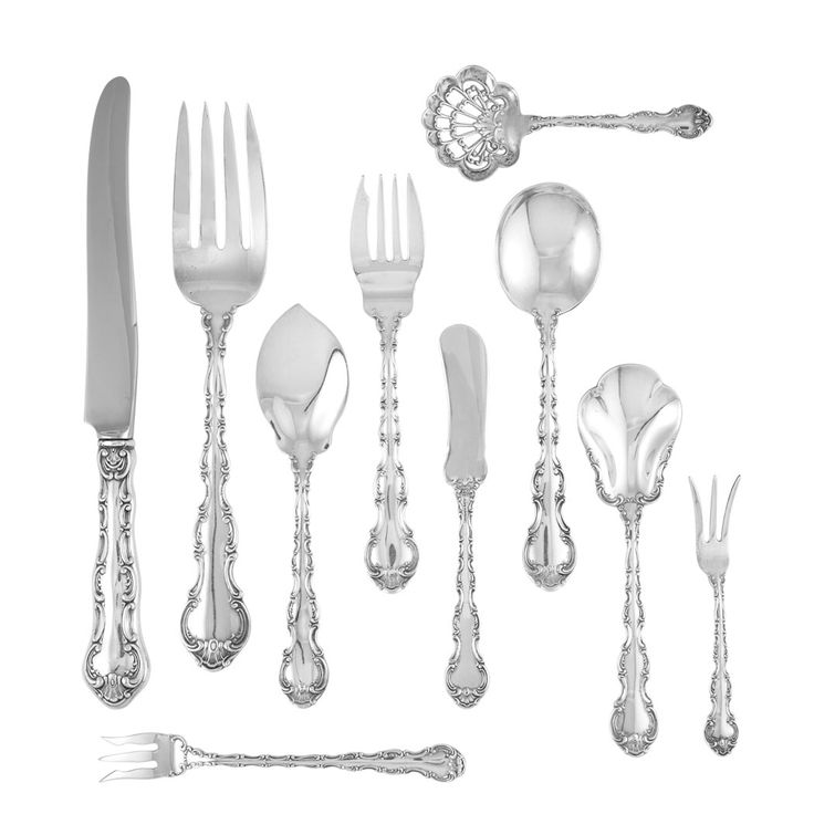 Gorham Sterling Silver Partial Flatware Service In the Strasbourg pattern, comprising six dinner forks, twelve luncheon forks, eighteen salad/dessert forks, six oyster forks, eighteen soup spoons, eighteen teaspoons, six dinner knives, twelve luncheon knives, twelve flat handle butter knives, two lemon forks and four serving pieces, in a fitted case. Total approximately 117 ounces, weighable.