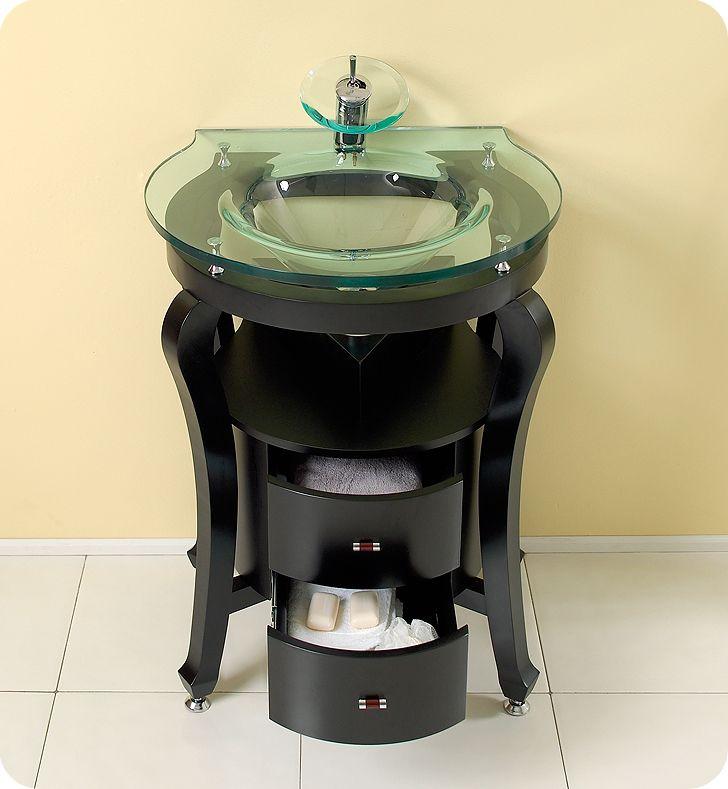 Fresca Simpatico Small Vessel Sink Bathroom Vanity w/ Mirror & Shelves, & Faucet