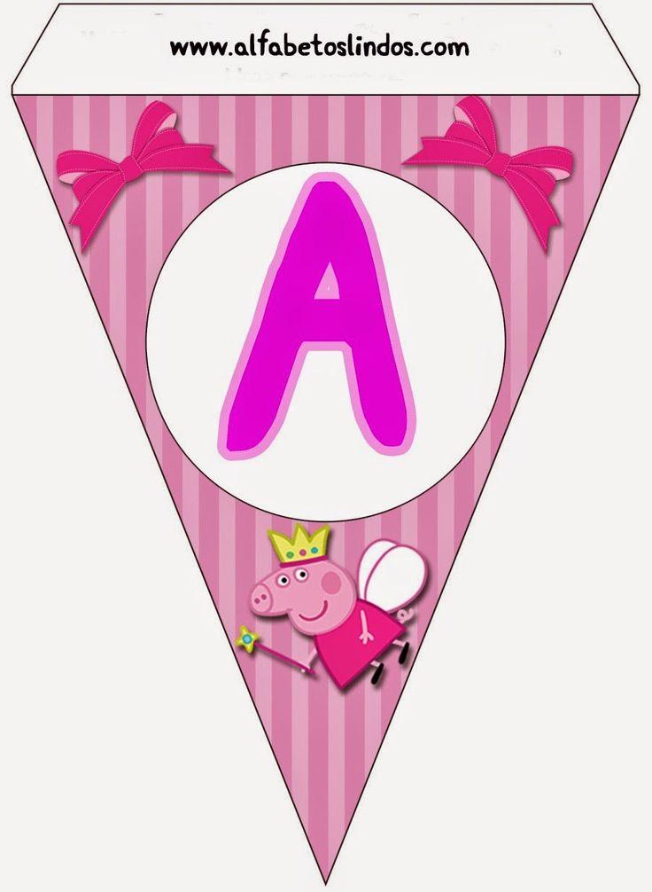 Alfabeto Peppa Pig rosa la o