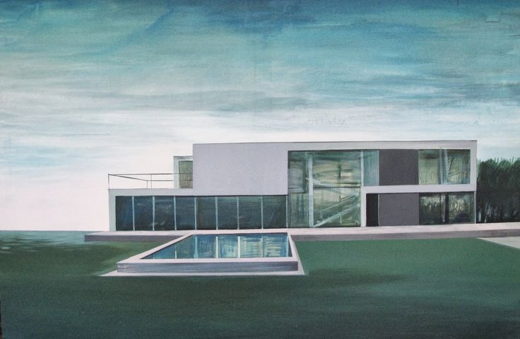 Kiesner Maria, Waterpool, acrylic on canvas, modern architecture, modernist architecture, architecture on paitning, blue, green, modern art, polish art
