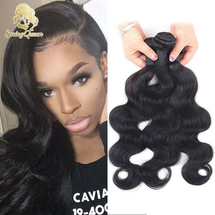 Spring queen hair brasileira onda do corpo do cabelo humano 3 pacotes 7A Grau Brasileira Onda Do Corpo Do Cabelo Virgem Tecer Cabelo Brasileiro feixes