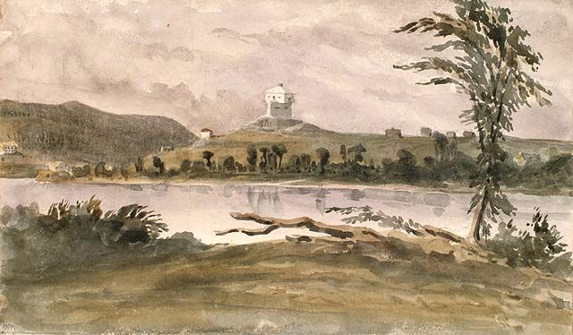 Le 8 février 1839: Affrontement de troupes britannique et américaines pour le contrôle de la colonie de Madawaska, aquarelle de Philip John Bainbrigge. Blockaus au confluent de la rivière Madawaska et du fleuve Saint-John, 1842.  Bibliothèque et Archives Canada, no d'acc 1956-62-120, MIKAN: 2895403.