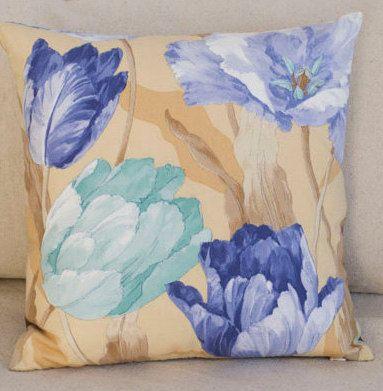 "Blue Throw Pillow, Beige Cushion Cover, Flower Pillow Case, Cotton Lumbar Cover, Print Pillowcase, Blue and Beige Pillow, 16""x16"", 12""x20"""