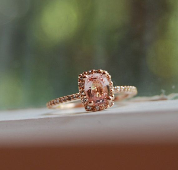 Cushion peach champagne sapphire engagement ring in 14k rose gold // dear future husband?