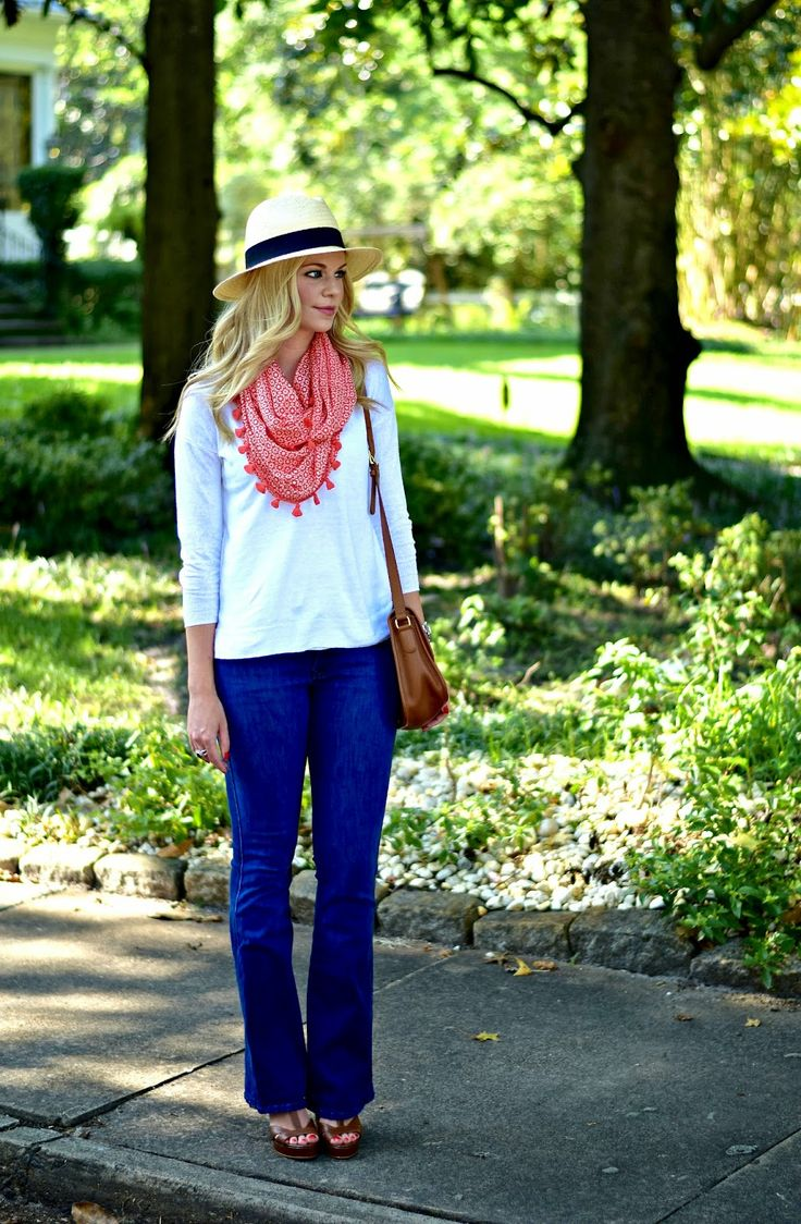 Summer Scarf - flare jeans, scarf