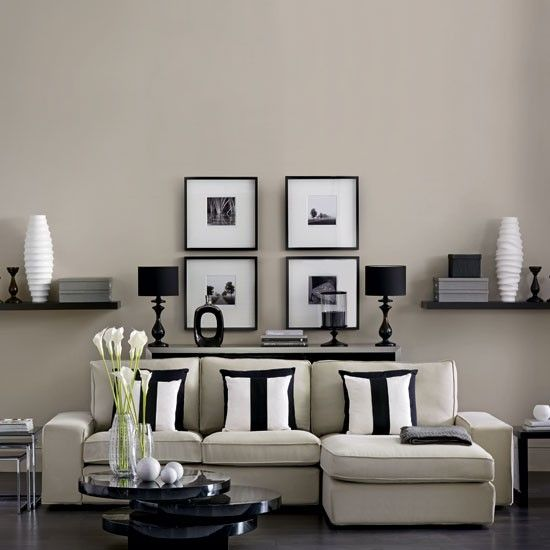 Modern monochrome living room white interiors wall for Monochromatic living room ideas