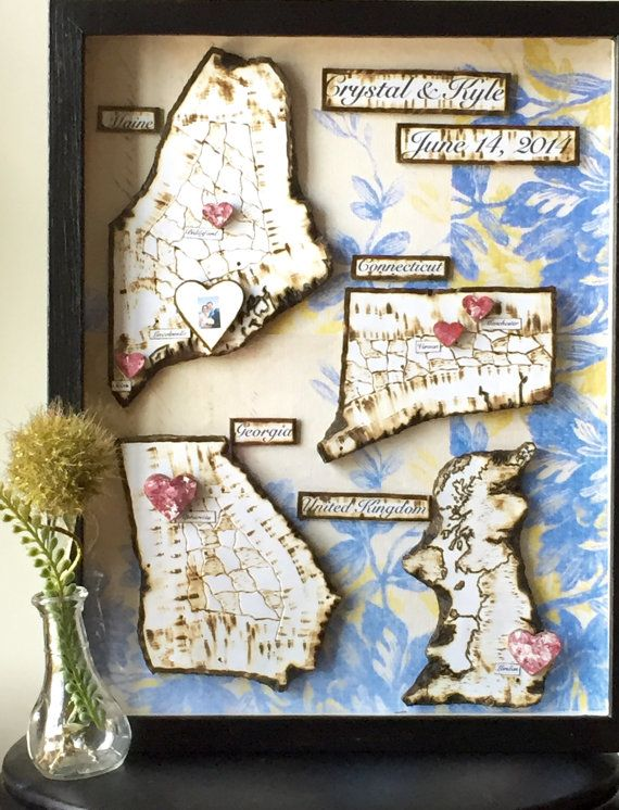 Anniversary Present Travel Map Shadow Box by PaperMemoirs