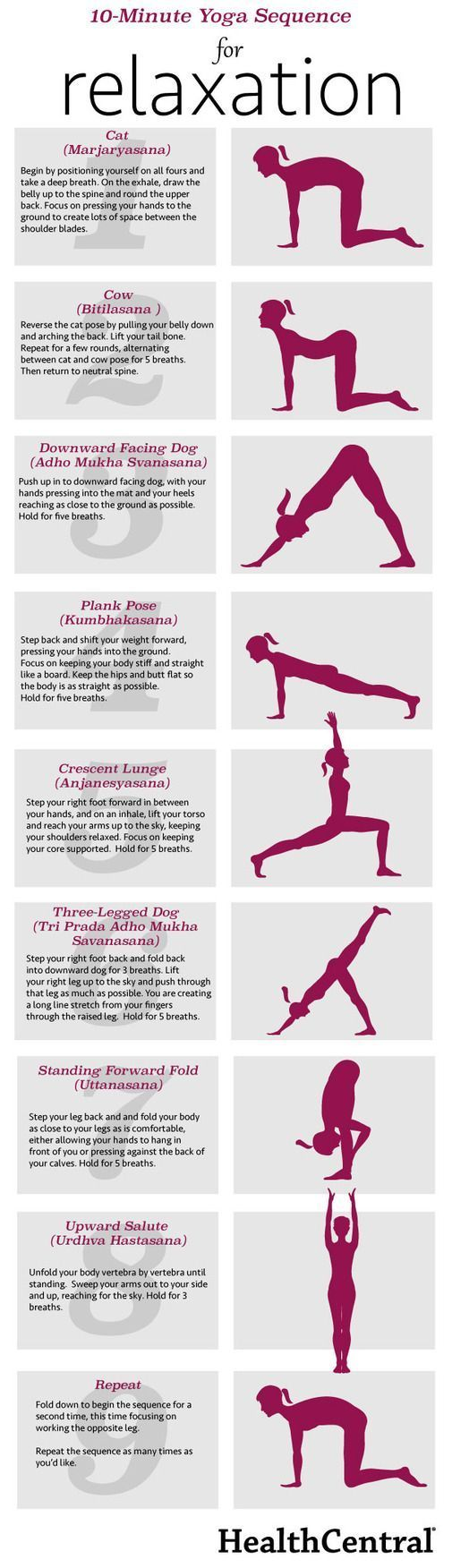 10-Minute Yoga Sequence for Relaxation (INFOGRAPHIC) - Exercise - Anxiety