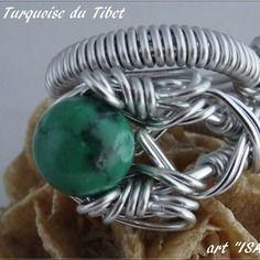 Bague réglable perle turquoise du tibet
