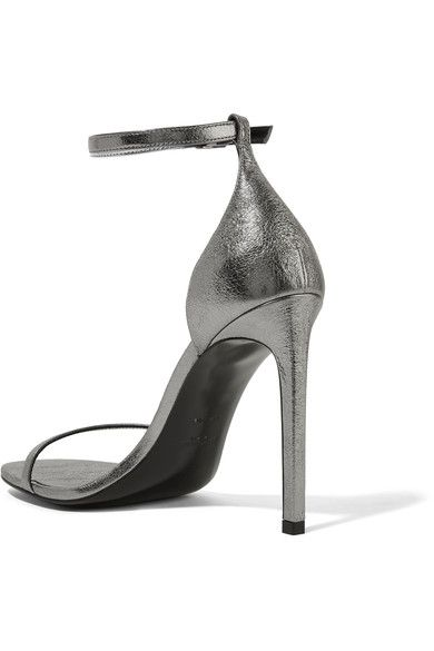 Saint Laurent - Jane Metallic Textured-leather Sandals - Silver - IT