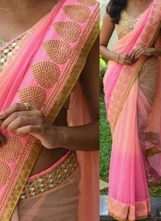 Pink Embroidery Mirror Work Georgette Designer Party Wear Sarees http://www.angelnx.com/Sarees/Designer-Sarees