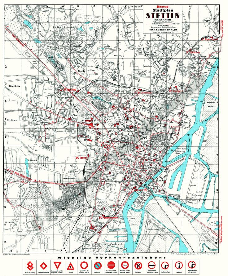 Pharus Plan Stettin 1941Pharus Plans, Und Stadtplän, Pommern Mecklenburg, Travel Germany, Plans Stettin, Stettin 1941, Rekonstrukcja Historyczna, Landkarten Und, Pommern Landkarten